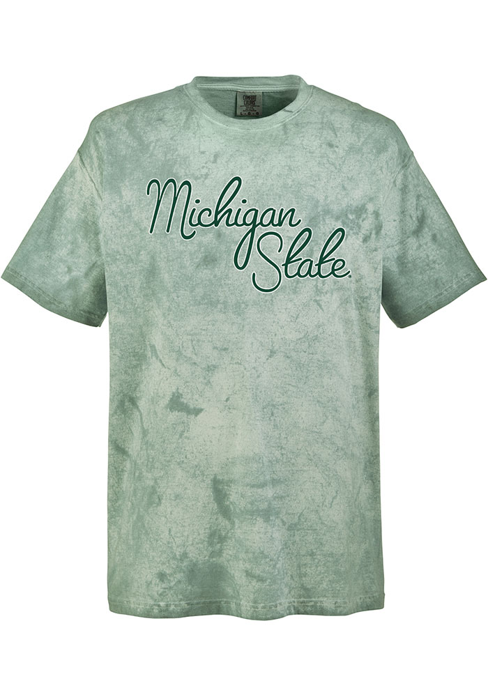 Michigan State Spartans Womens Green Color Blast Short Sleeve T-Shirt - Image 1