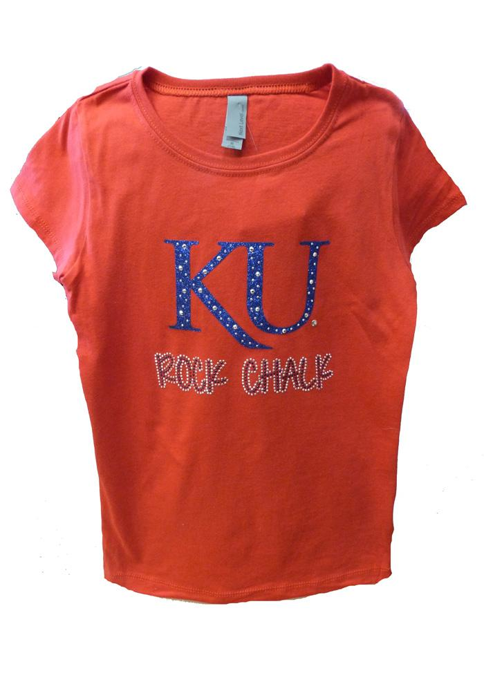 Kansas Jayhawks Girls Red Ava Short Sleeve Tee - Image 1