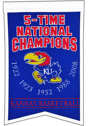 Kansas Jayhawks team logo with list of years won Banner