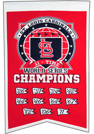 St Louis Cardinals team logo with list of years won Banner