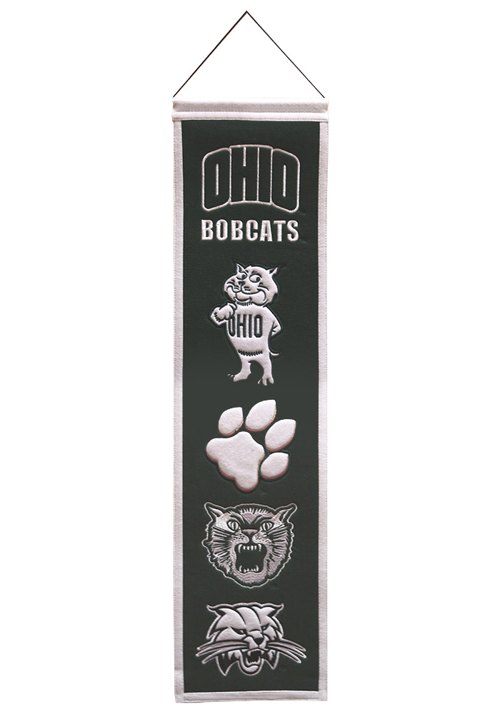 Ohio Bobcats 8x32 Heritage Banner, Green, WOOL BLEND