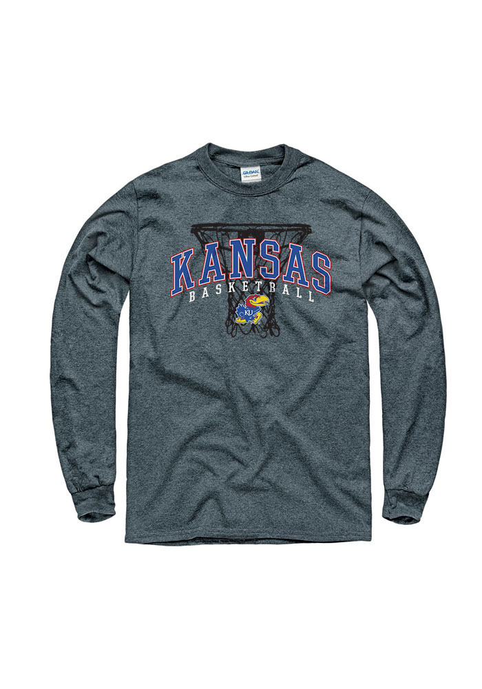 Kansas Jayhawks Grey Coached BB Long Sleeve T Shirt - Image 1