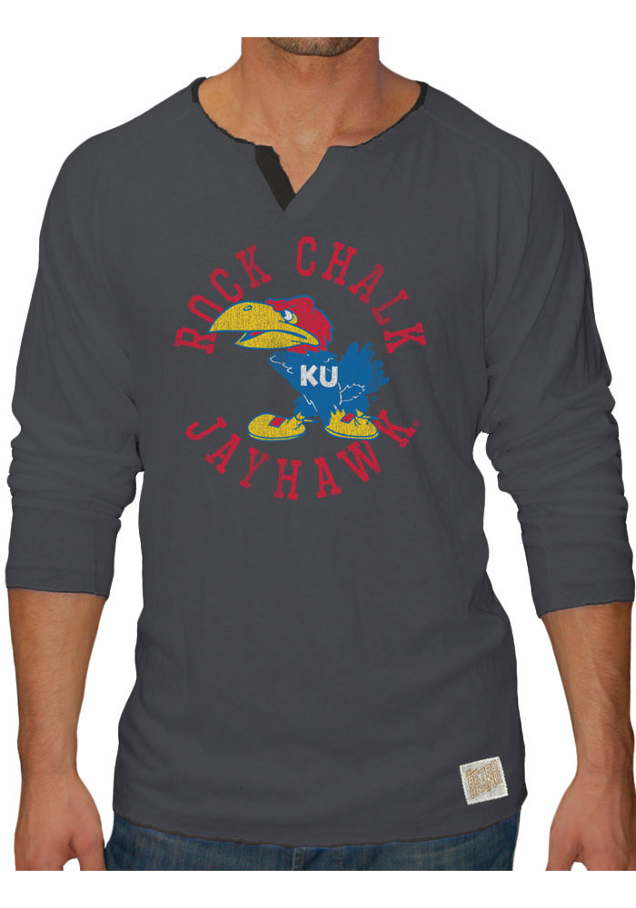 Original Retro Brand Kansas Jayhawks Mens Gray Rock Chalk Jayhawk Long Sleeve Tee - Image 1