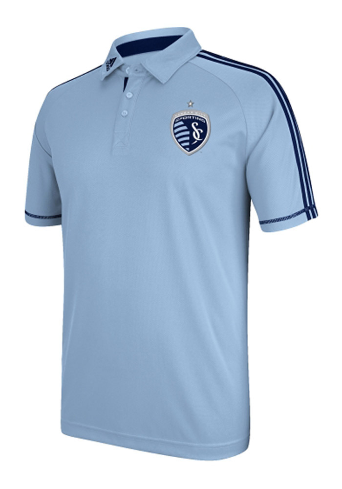 Adidas Sporting Kansas City Mens Light Blue polyster polo Short Sleeve Polo - Image 1