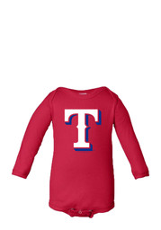 Texas Rangers Baby Red Infant Long Sleeve One Piece