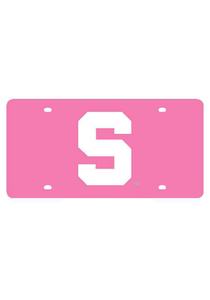 Michigan State Spartans Logo on Pink Car Accessory License Plate - Image 1