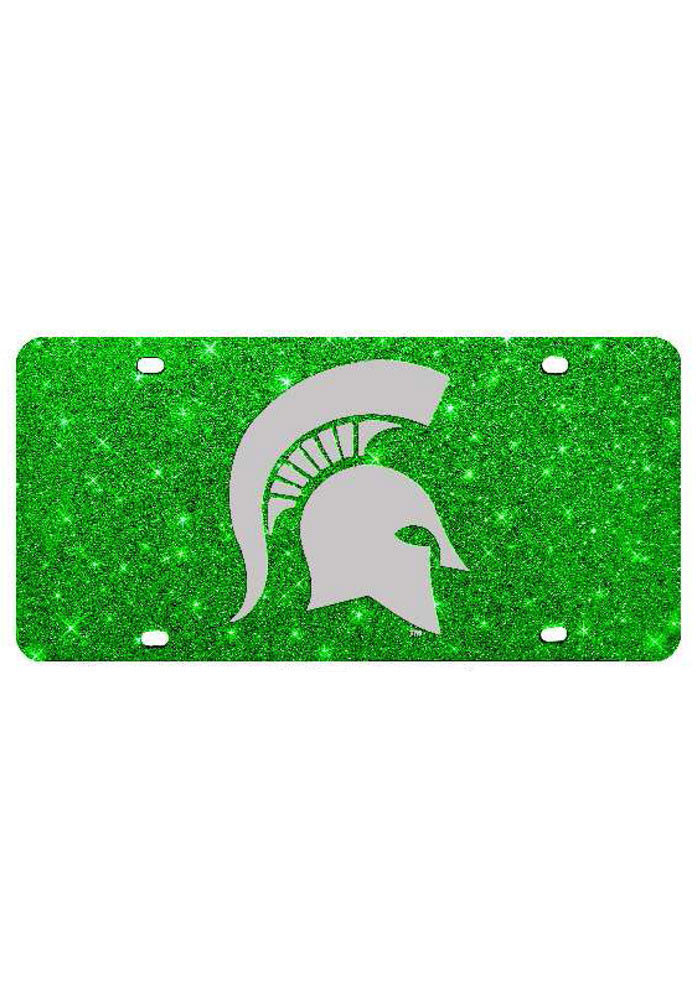 Michigan State Spartans Green Glitter Car Accessory License Plate - Image 1