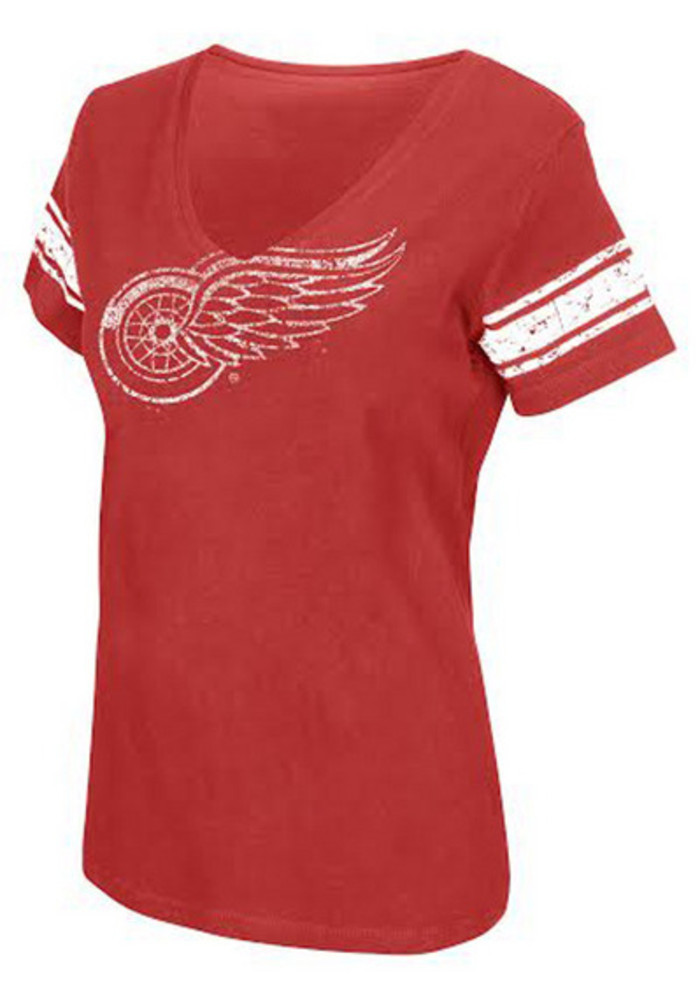 Detroit Red Wings Womens Red First Pick V-Neck - Image 2