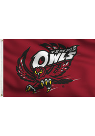 Temple Owls 3x5 Maroon Grommet Applique Flag