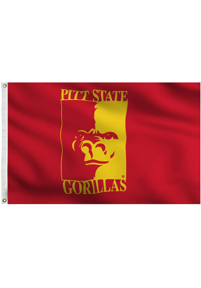 Pitt State Gorillas 3x5 Red and Gold Grommet Applique Flag - Image 1