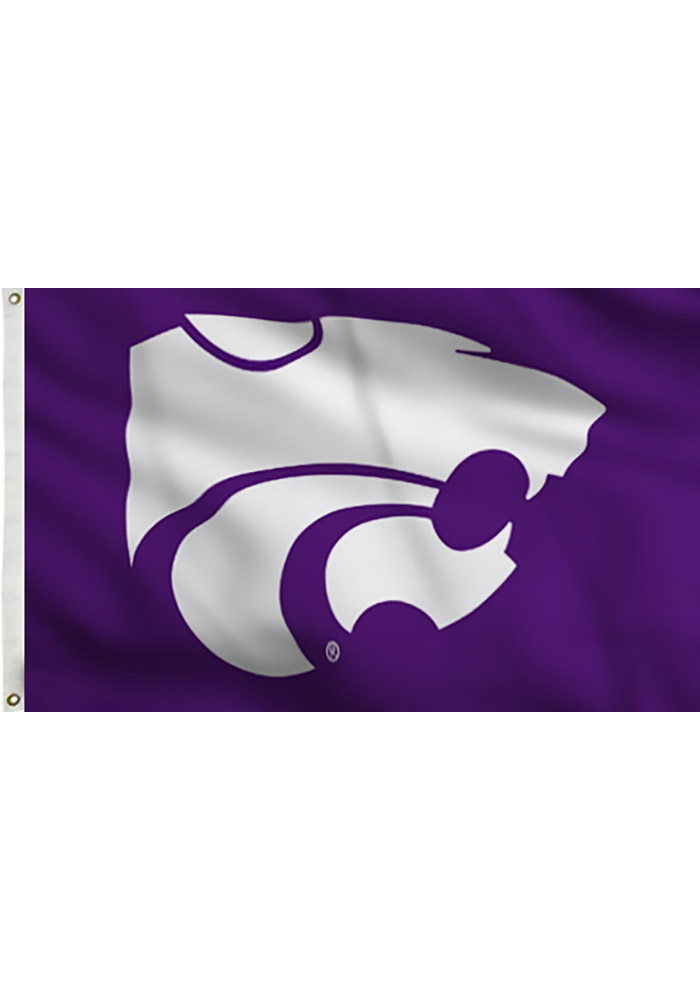 K-State Wildcats Team logo Purple Silk Screen Grommet Flag - Image 1