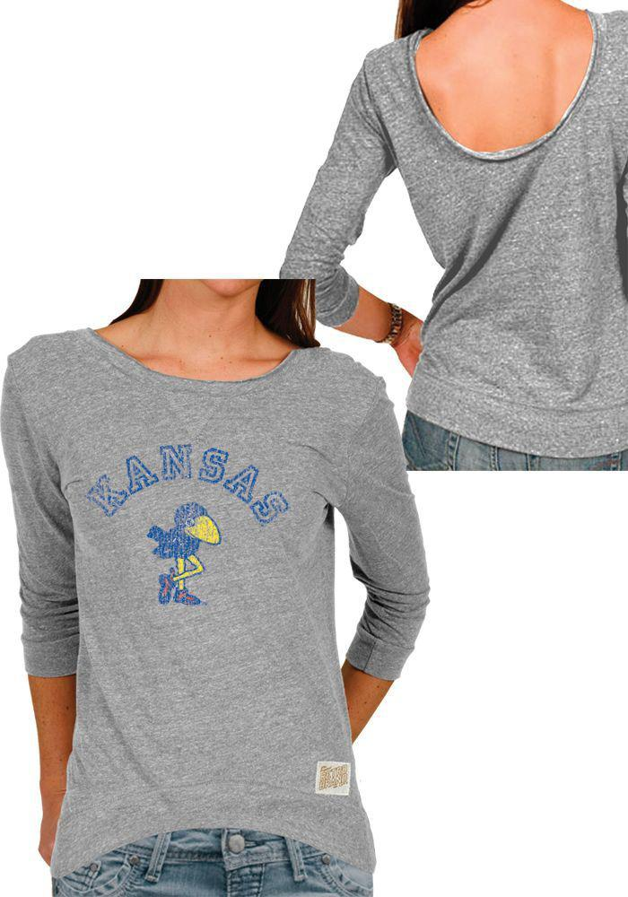 Original Retro Brand Kansas Jayhawks Juniors Scoop Back Scoop Neck Tee
