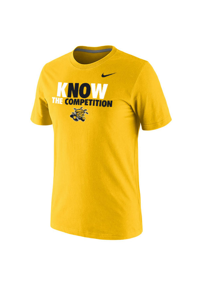 Nike Wichita State Shockers Mens Gold No Competition Short Sleeve T Shirt - Image 1