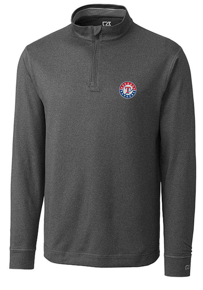 Texas Rangers Cutter and Buck Topspin 1/4 Zip Pullover - Charcoal