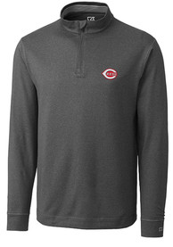 Cincinnati Reds Cutter and Buck Topspin 1/4 Zip Pullover - Charcoal