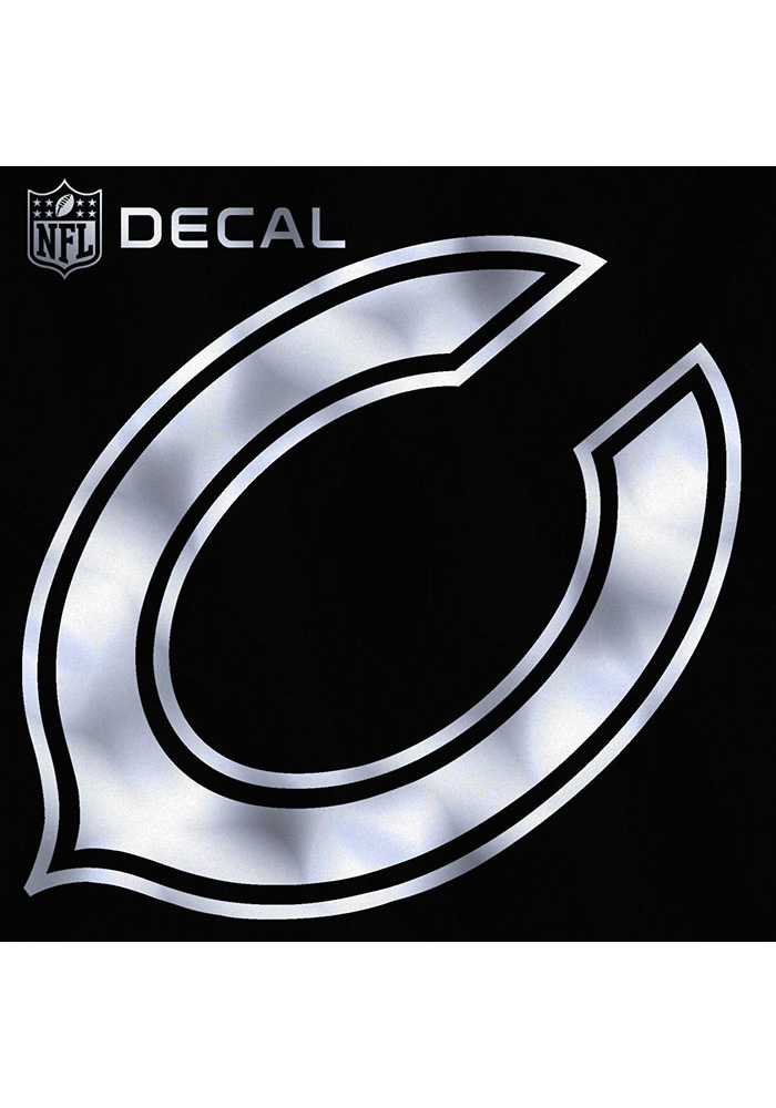Chicago Bears 6x6 Metallic Auto Decal - Silver - Image 1