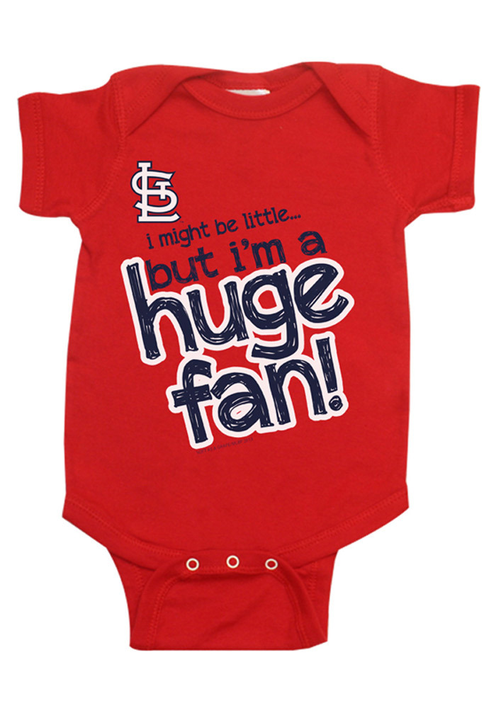 new concept 6f891 57948 St Louis Cardinals Baby Red Huge Fan Short Sleeve One Piece