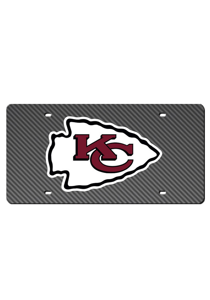 Kansas City Chiefs Team Logo Carbon Fiber Car Accessory License Plate - Image 1