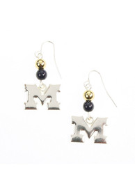 Michigan Wolverines Logo With Beads Womens Earrings