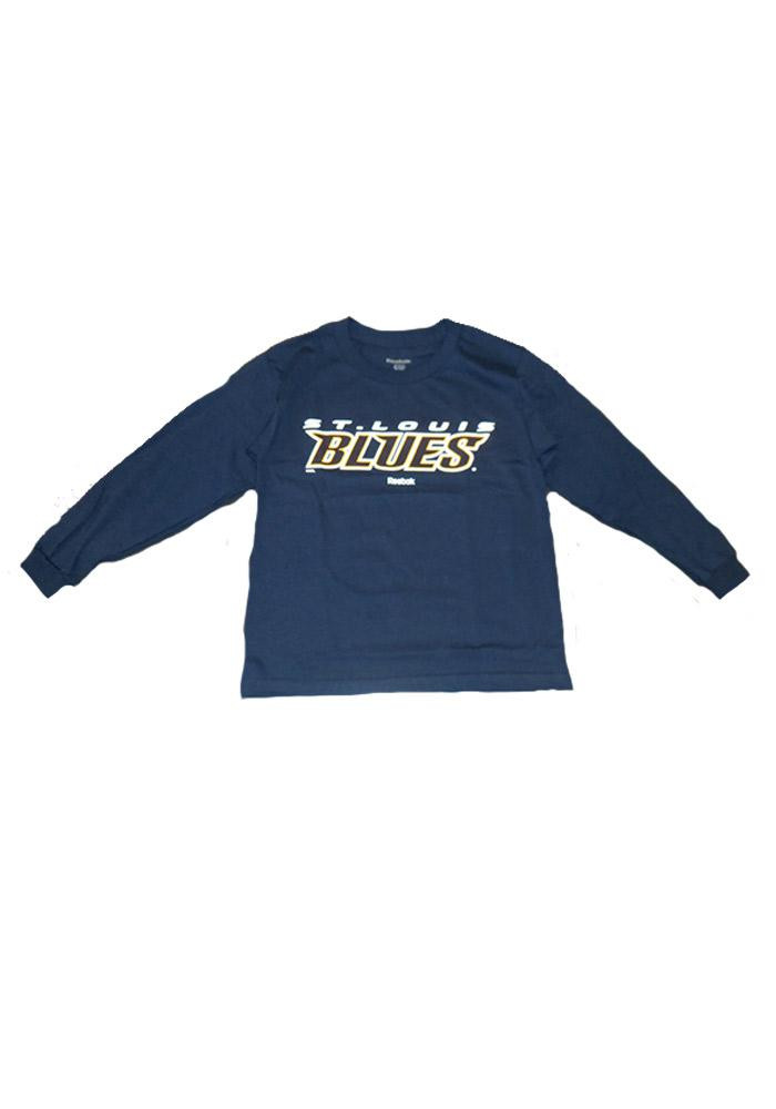 St Louis Blues Kids Navy Blue Youth Rally Loud Long Sleeve T-Shirt - Image 1