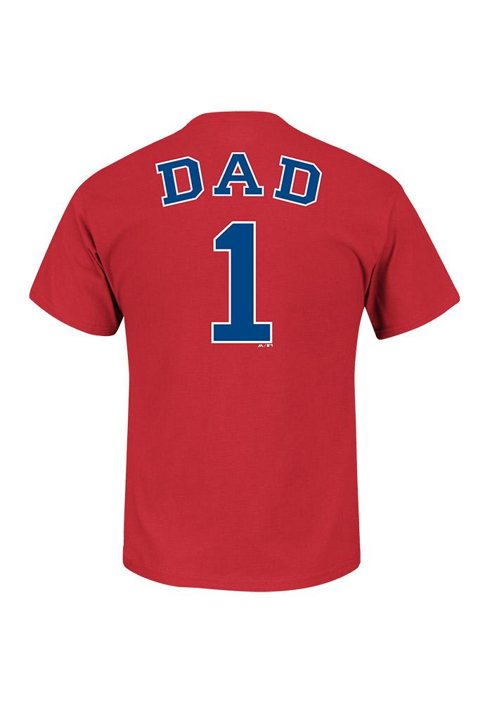 Majestic Texas Rangers Red #1 Dad Short Sleeve T Shirt - Image 2