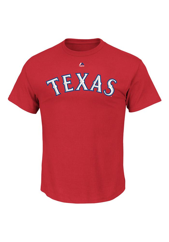 Majestic Texas Rangers Red #1 Dad Short Sleeve T Shirt - Image 3