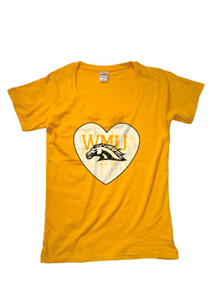 WMU Broncos Womens Gold Arched Mascot Fit Tee