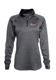 Indiana Womens Space Dye Black 1/4 Zip Performance Pullover