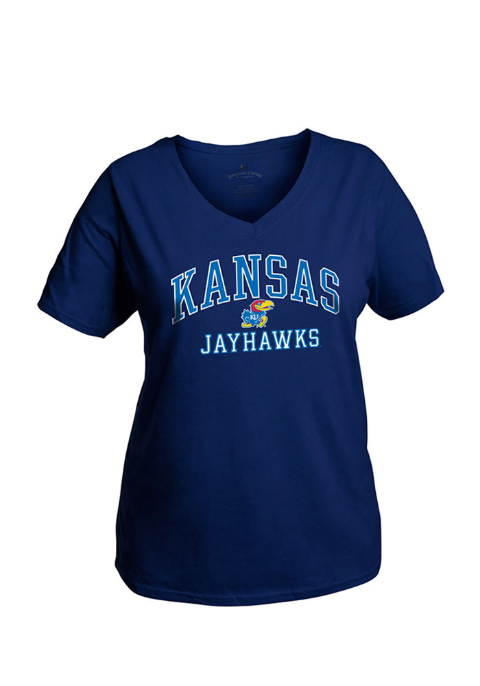 Kansas Jayhawks Womens Navy Blue Womens Curves V-Neck Short Sleeve Plus Tee, Navy Blue, 100% COTTON, Size XL