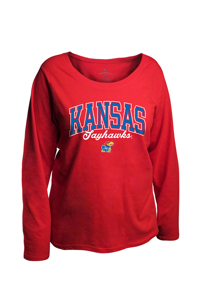 Kansas Jayhawks Womens Womens Curves Long Sleeve Red Plus Size T-Shirt
