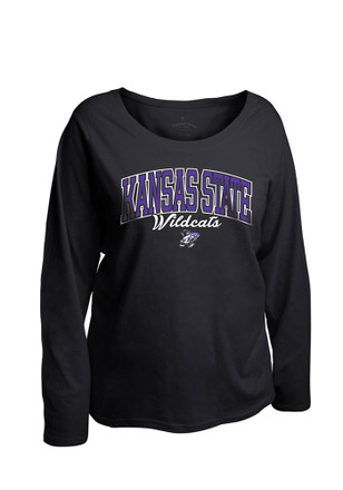 K-State Wildcats Womens Womens Curves Long Sleeve Black Plus Size T-Shirt