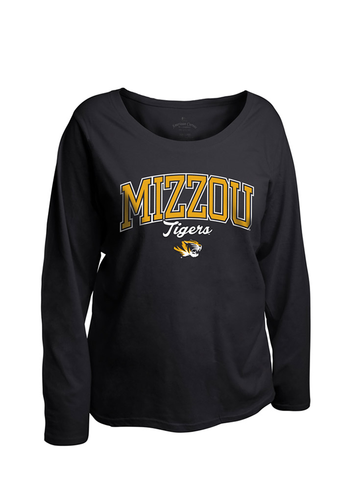 Missouri Tigers Womens Black Womens Curves Long Sleeve Long Sleeve Plus Size T-Shirt 16930623