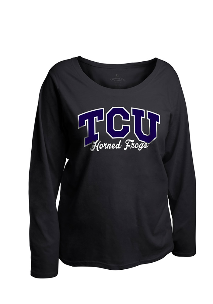 TCU Horned Frogs Womens Black Womens Curves Long Sleeve Long Sleeve Plus Size T-Shirt 16930625
