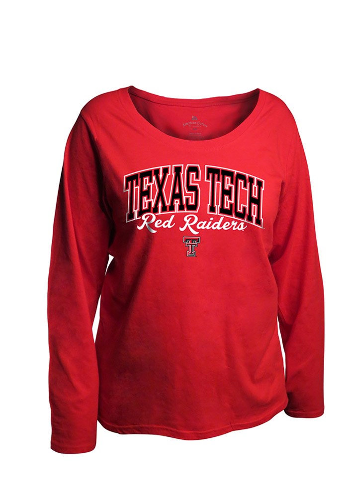 Texas Tech Red Raiders Womens Red Womens Curves Long Sleeve Long Sleeve Plus Size T-Shirt 16930627