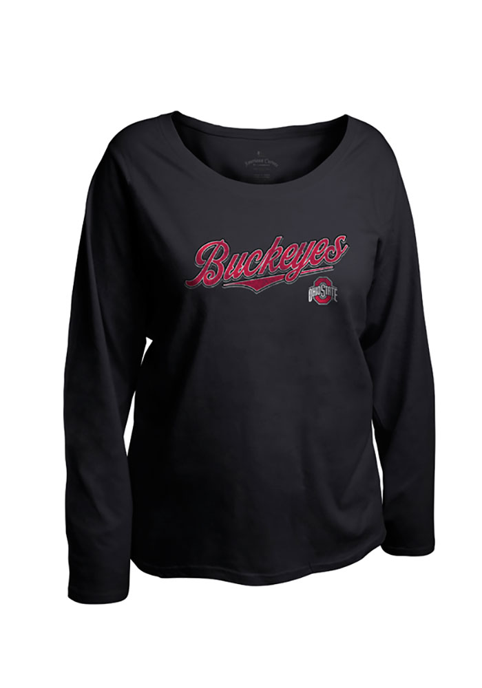 The Ohio State University Womens Womens Curves Long Sleeve Black Plus Size T-Shirt 16930634