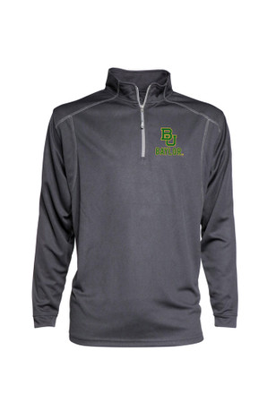 Baylor Mens Grey Poly Mesh 1/4 Zip Performance Pullover