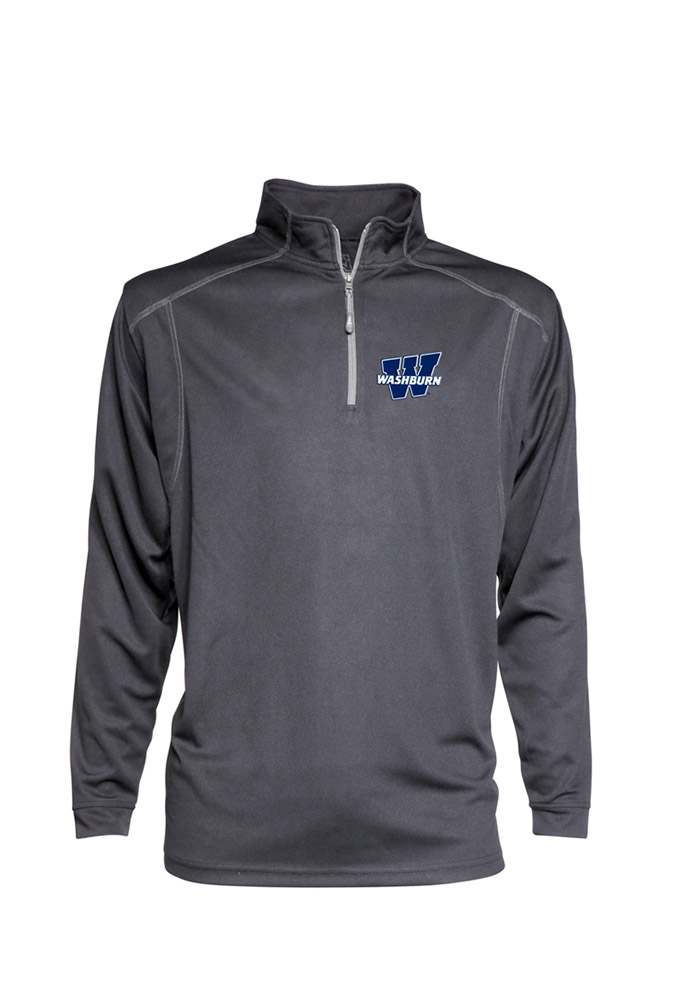 Washburn Ichabods Mens Grey Poly Mesh Long Sleeve 1/4 Zip Pullover - Image 1