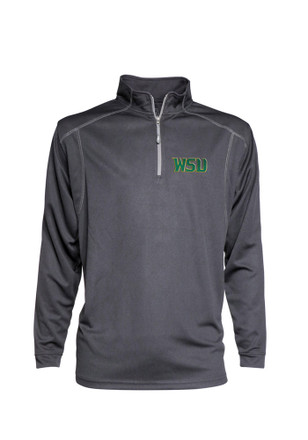 Wright State Raiders Mens Grey Poly Mesh 1/4 Zip Pullover