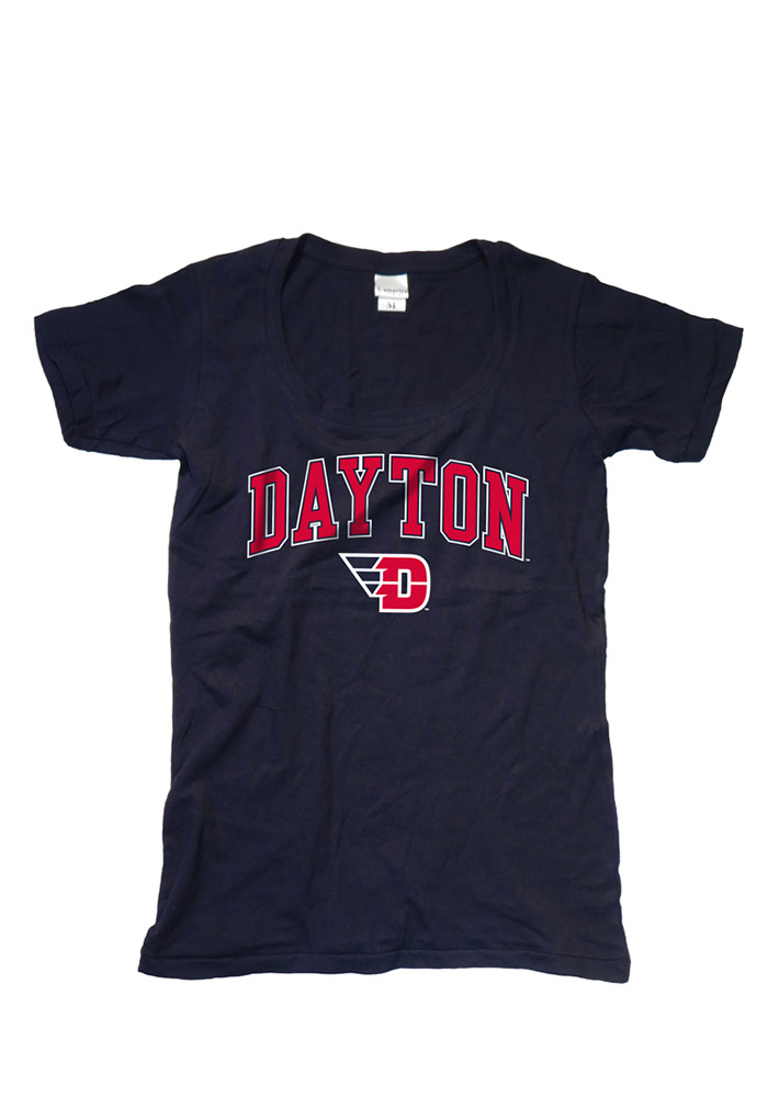 Dayton Flyers Womens Navy Blue Arch Logo Short Sleeve Scoop - Image 1