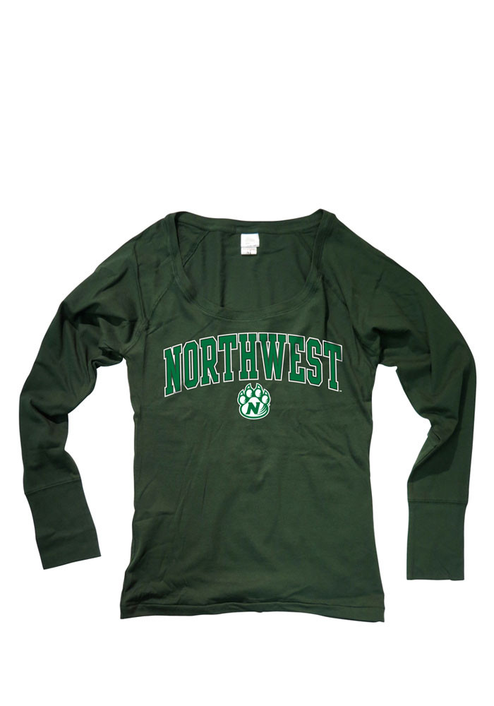 Northwest Missouri State Bearcats Womens Green Arch Scoop Long Sleeve Women's Scoop - Image 1