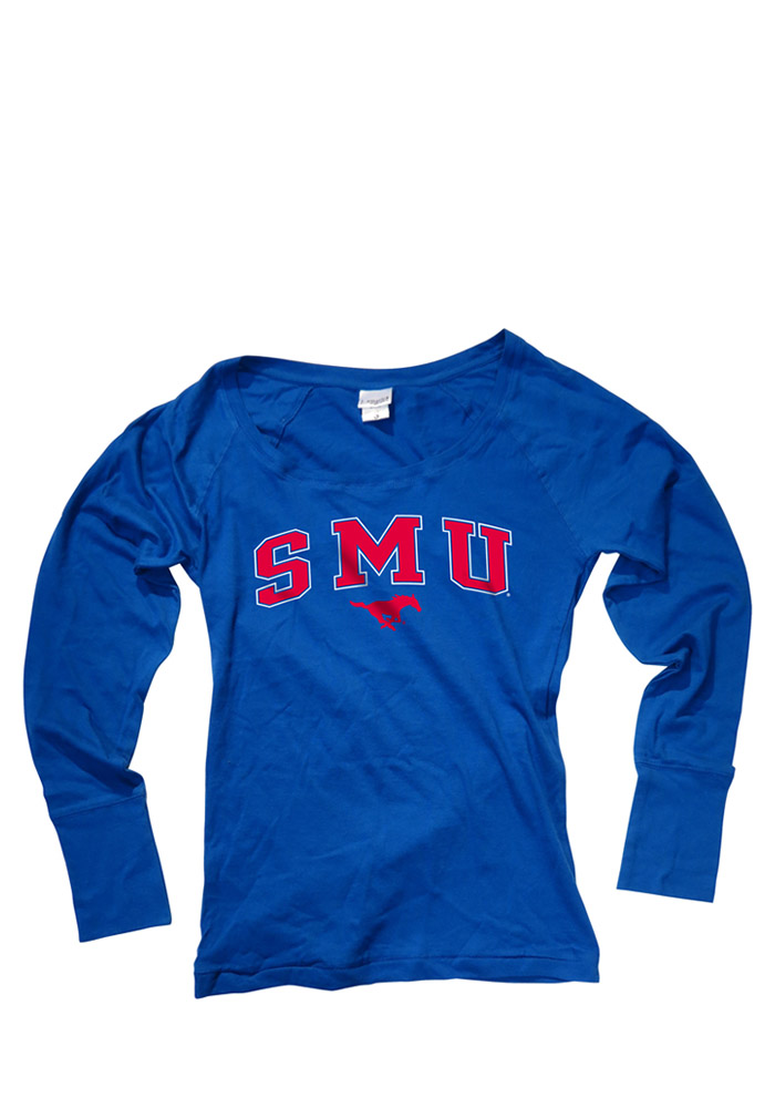 SMU Mustangs Juniors Blue arch Long Sleeve Juniors Scoop 16930736