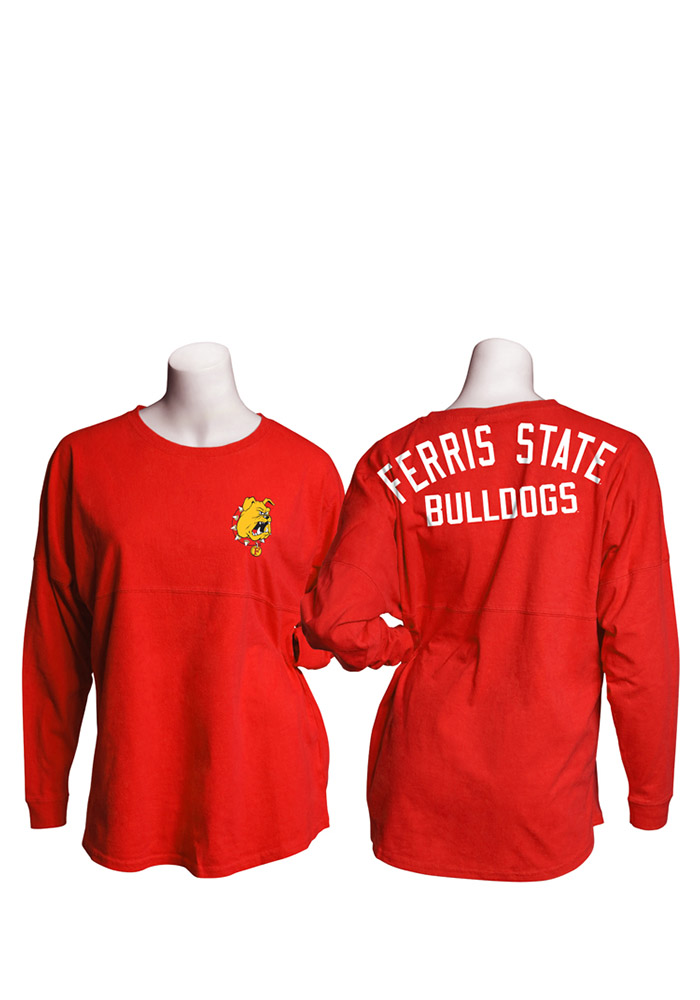 Ferris State Bulldogs Womens Red Gameday Jersey LS Tee - Image 1