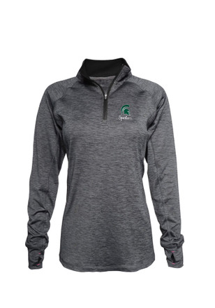 Michigan State Spartans Womens Space Dye Black 1/4 Zip Pullover