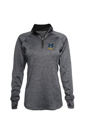 Michigan Wolverines Womens Space Dye Black 1/4 Zip Pullover