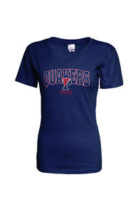 Pennsylvania Quakers Womens Navy Blue Basic T-Shirt