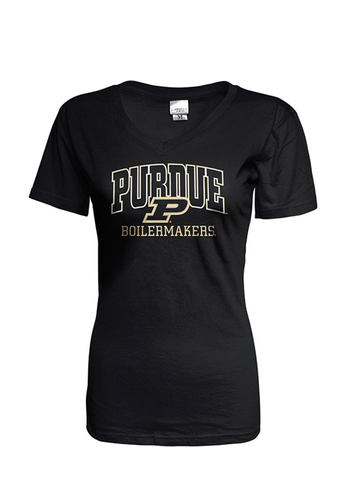 Purdue Boilermakers Womens Black Basic V-Neck - Image 1