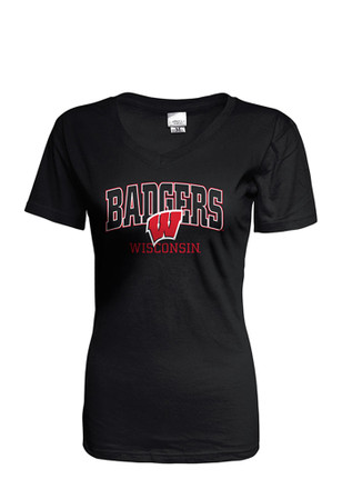 Wisconsin Badgers Womens Black Basic T-Shirt
