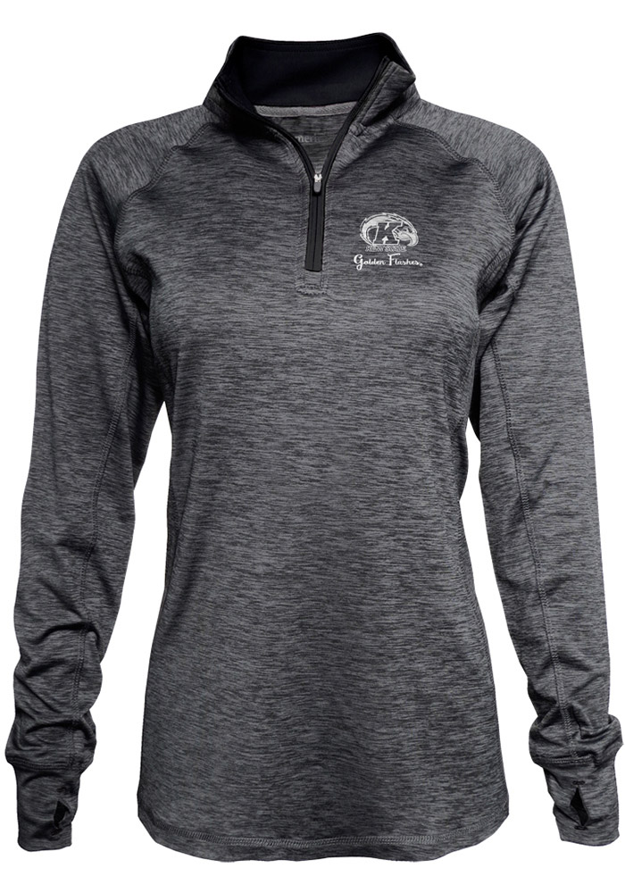 Kent State University Womens Black Space Dye 1/4 Zip Pullover 16930796