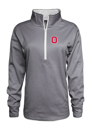 The Ohio State University Womens Poly Fleece Grey 1/4 Zip Performance Pullover