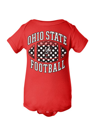 Ohio State Buckeyes Baby Red Polka Dot Creeper